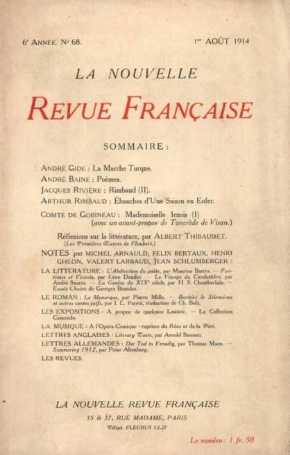 NRF août 1914. Source : https://www.librairiedialogues.fr