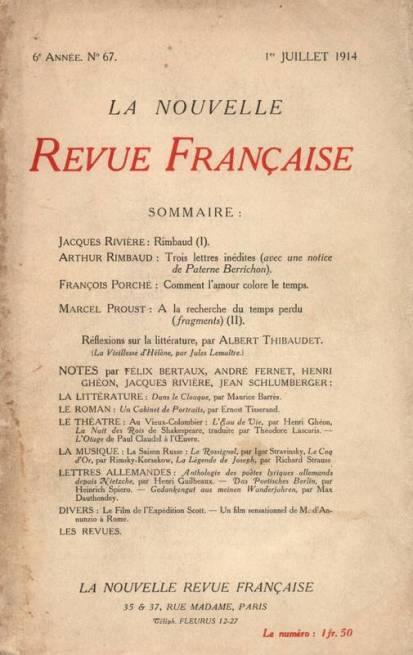NRF juillet 1914. Source : https://www.librairiedialogues.fr