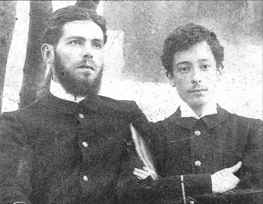 Victor Segalen à droite (Bordeaux, 1899). Source : https://commons.wikimedia.org